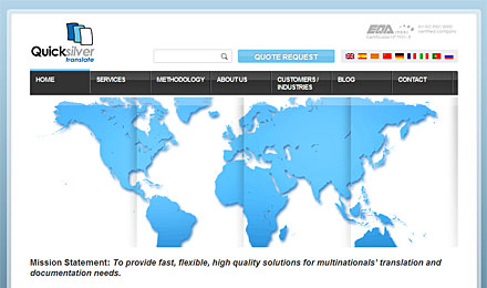diseño web de Quicksilver Translate
